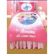 Disney Princess Duvet Cover and Pillowcase 'Dreams Do Come True' Design - Glitter Effect!