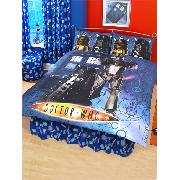 Doctor Who Double Duvet Cover and Pillowcase Cyberman Design Dr Bedding