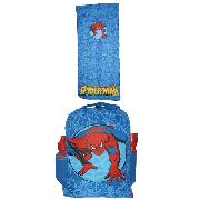 Spiderman Backpack Rucksack Combo Inc Sleeping Bag Torch and Drink Bottle