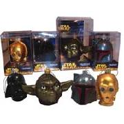 "Star Wars 3"" Glass Head Christmas Decorations"