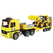 Mercedes Benz Actres Low Loader Truck and Jcb
