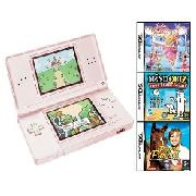 Nintendo - Ds Lite Pink Plus Barbie 12 Dancing Princesses, Pippa Funnel and Mind Quiz