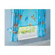 Winnie the Pooh Pair of 66 x 54In Unlined Curtains - Blue.